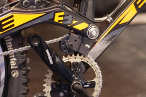 The high pivot point on the single pivot AX8 makes this idler wheel necessary. It was carried over from Empire's  AP-1 downhill bike