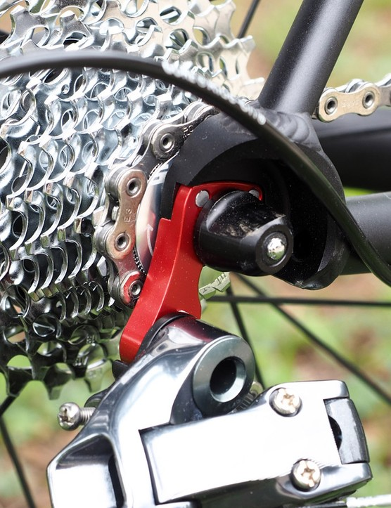 The rear derailleur hanger is nicely machined from burly alloy plate, not just some cheap cast piece