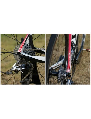 The Ultravox Ti's dropouts and slender stays remain an identifiable feature of the frame, while the SRAM Red 22 groupset is now the least commonly seen option at this racing level
