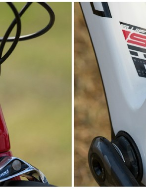 For 2015 Swift has moved its head tube logo from the sides to the front (like everyone else), a lesson learned through a lack of brand exposure in front-on photos. Lower down, a square down tube uses the full width of a PF-30 bottom bracket