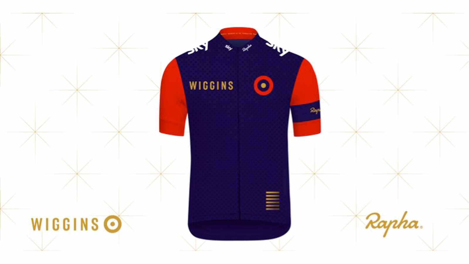 The new Wiggins Rapha kit uses union jack colours with flashes of gold