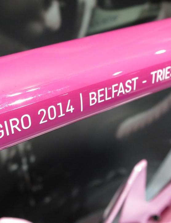The bike commemorates Quintana's win over the 2014 Giro's 3,449.9km