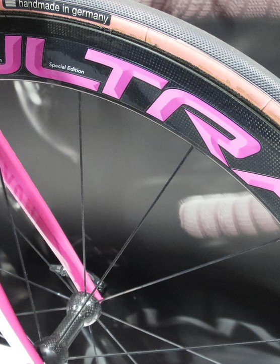 The Campagnolo Bora Ultra Two wheels have special pink decals too