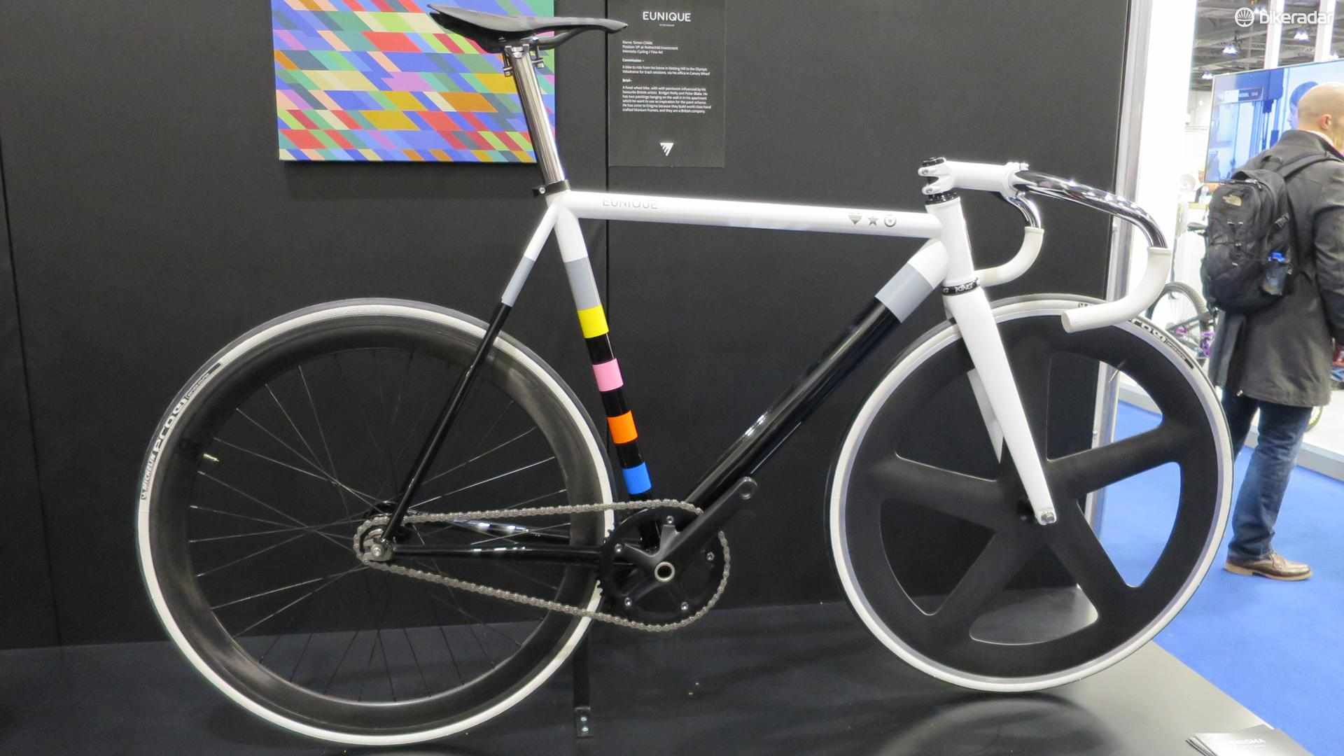 This Eunique track bike is inspired by British artists Bridget Riley and Peter Blake
