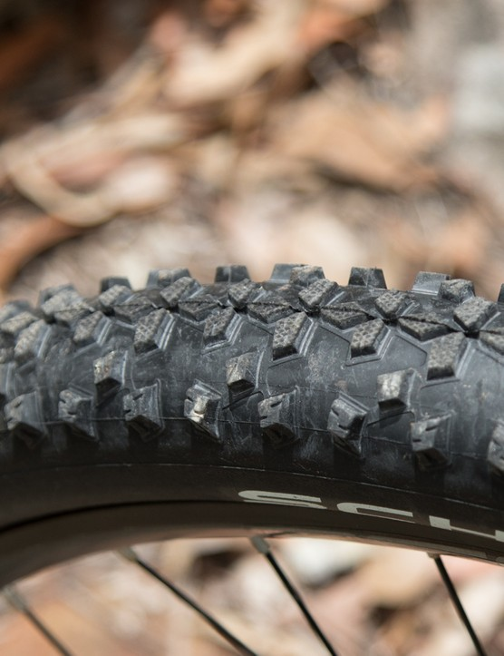 These Schwalbe Smart Sams aren't anything fancy, but grip decently in a variety of terrain. Just watch the thin side-walls – we found ourselves at the side of the trail replacing an inner tube within the first 10 minutes of testing the Siskiu