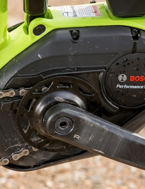 Trek's custom case and mount for the motor utilizes spare space to get suspension pivots in just the right place