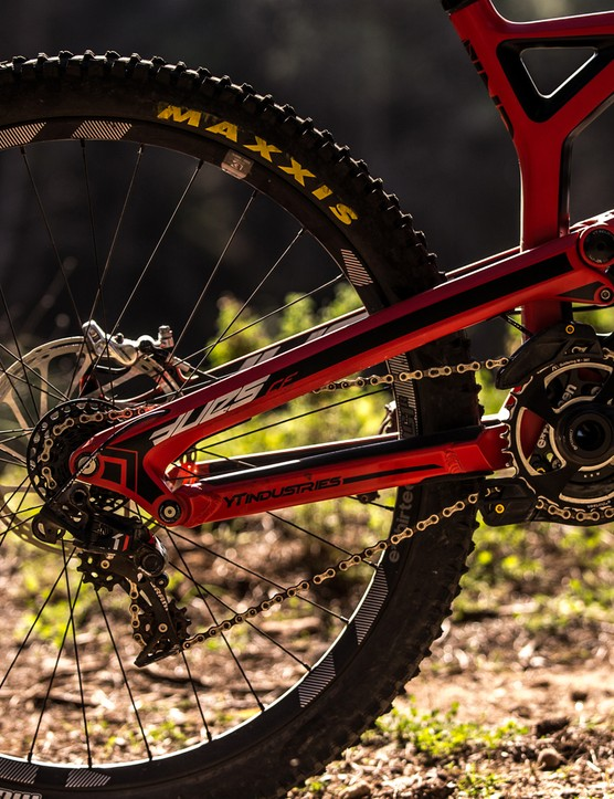 SRAM's DH transmission system, the X01 DH, sports a 7-speed XD block with a bespoke gear range designed for gravity riding and racing