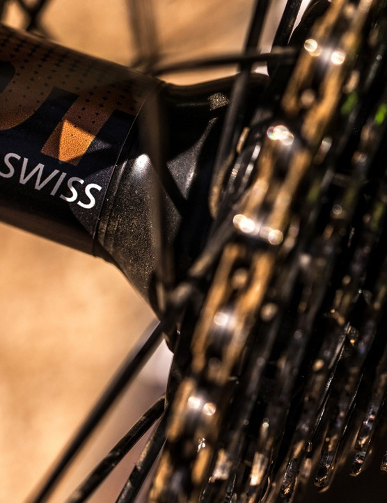 The DT Swiss hubs and rims on the Team are a nice touch, and back up this bikes race-ready status
