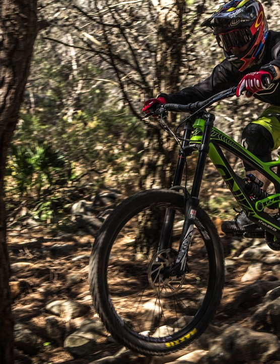 Olly getting to grips with the SRAM test track high up in the hills surrounding Malaga. Think steep, loose, rocky and very fast – the perfect place to test DH bikes