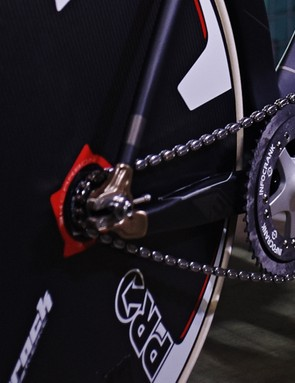 The Infocrank power meter is paired with Peekrings carbon chainrings