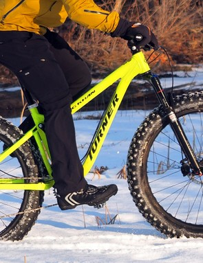 The Turner King Khan is heaps of fun, and not just in wintertime conditions. Turner bills it as more of a do-it-all adventure bike and it's indeed as capable on dry dirt as it is on snow