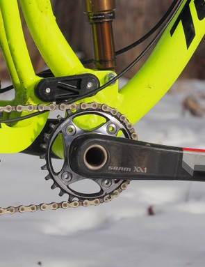 The Turner King Khan is not compatible with a conventional front derailleur, a move that Dave Turner says was necessary to provide the suspension, chainstay length, and tire clearance characteristics that he wanted