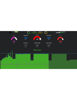 The main TurboTraining interface shows the prescribed power (in green bar graph and blue number at right) along with acutal or proxy power