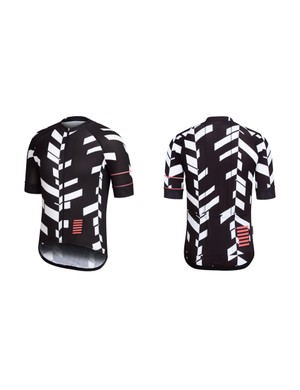 The white on black Pro Team Data Print Jersey features 'fiery coral' detailing
