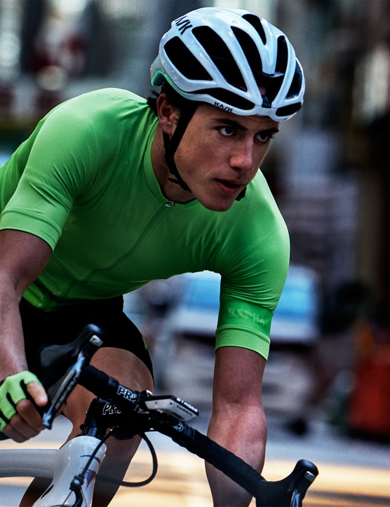 Kennaugh in green Pro Team jersey and mitts