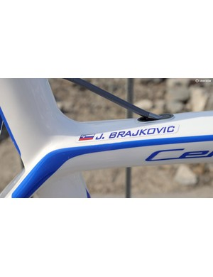 Brajkovic's name takes the pro's customary place on the top tube