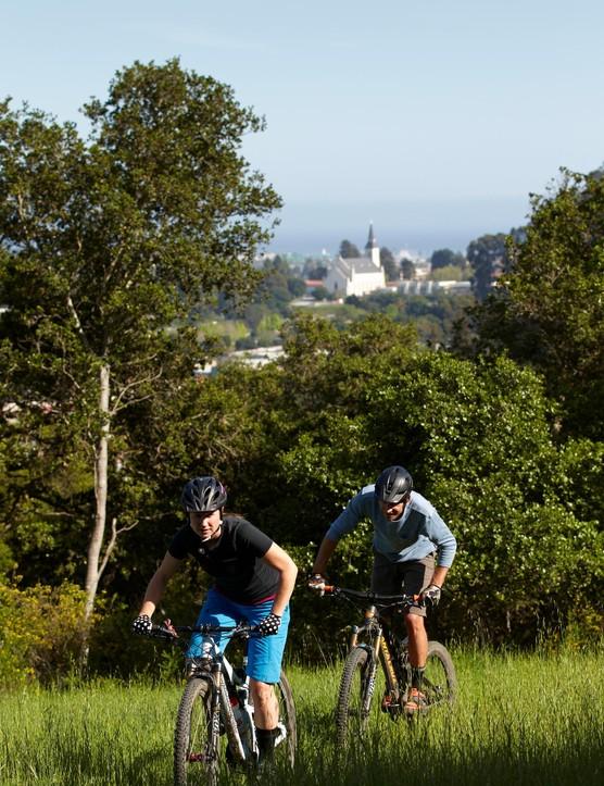 Keeping ahead of husband Dain Zaffke (of Giro Sport Design) on the hills around Santa Cruz