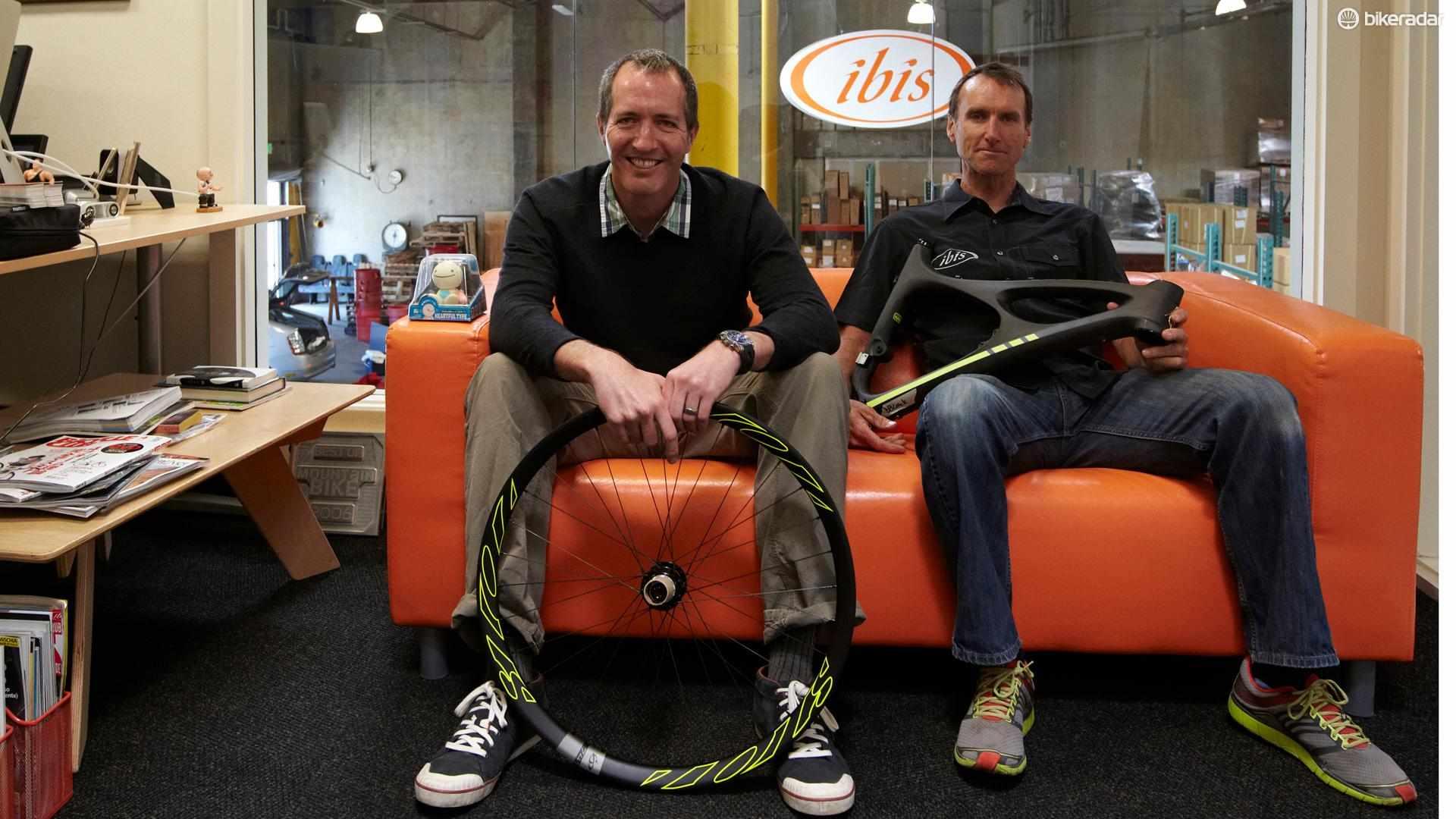 Tom Morgan and Scot Nicol at the Ibis factory in Santa Cruz, California
