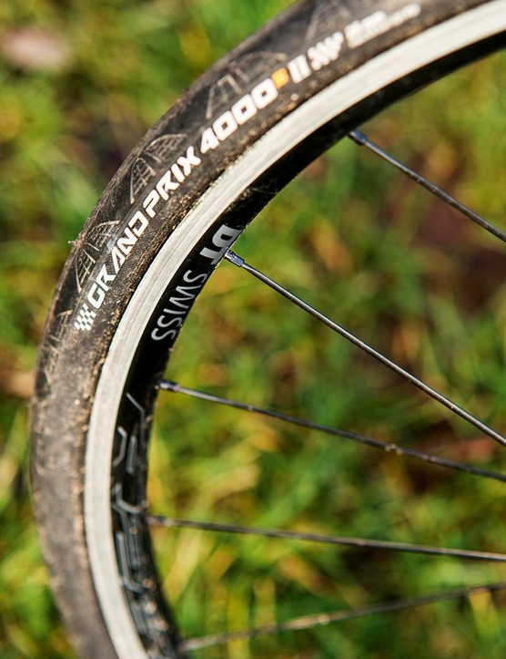 At 18mm wide the DT Swiss rims shape the 25mm Conti tyres well