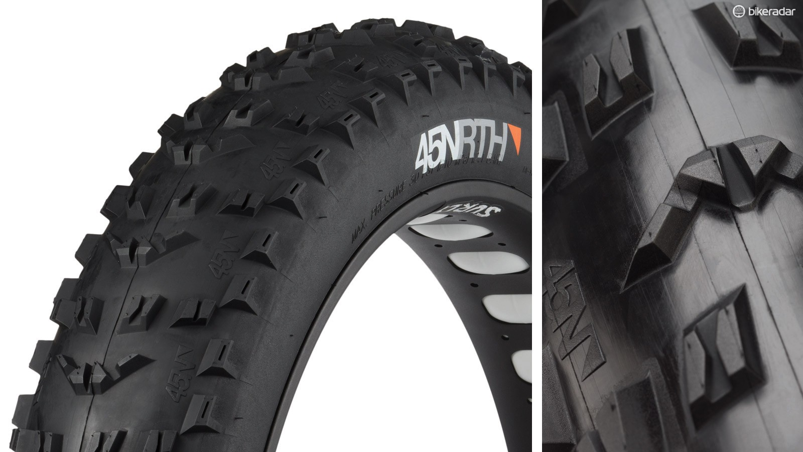 45NRTH's new front-specific Flowbeist fat bike tire boasts ramped center knobs and an aggressive shoulder block pattern for secure cornering grip