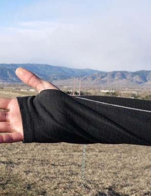 Thumb loops help keep the baselayer in place when pulling on a jersey
