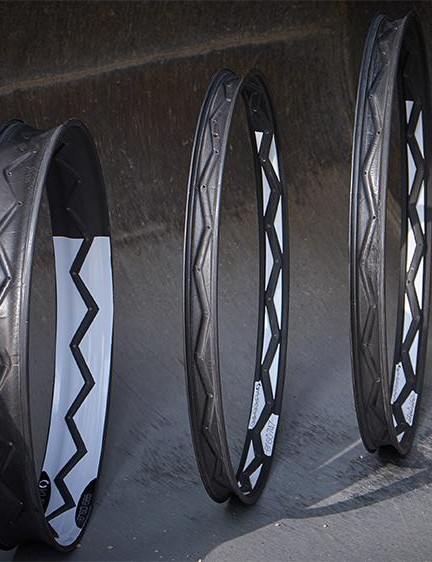From left to right: the Ensō685 fat bike rim, the 27.5+ Ensō747, and the 29+ Ensō950