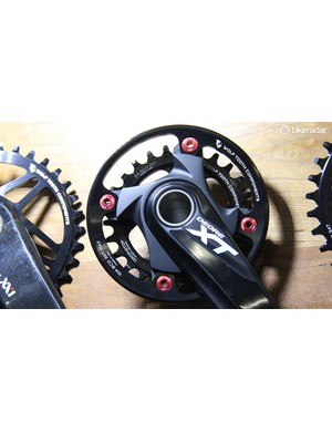 Wolftooth Components makes more than just narrow-wide chainrings. Shown here is the company's 104bcd bashguard