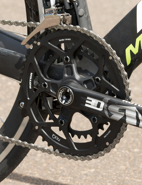 It may not shift as nicely as a Shimano crank, but the Rotor 3D30 crank is light and plenty stiff