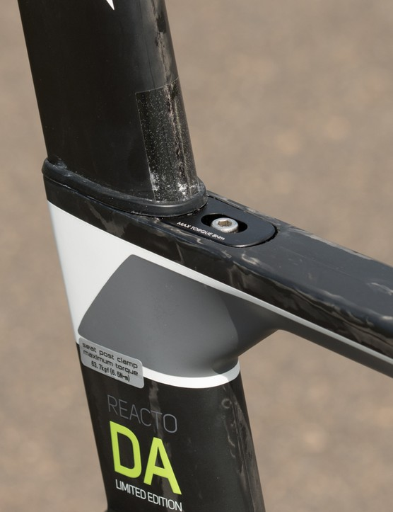 The integrated seatpost clamp wedge is simple to use and holds tight, but there's conflicting torque specifications. For the record, we went with 6.5nm without slipping issues