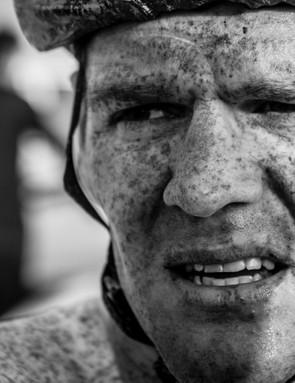 Fatigue shown on the face of Alessandro Bazzana during the Tour of Qatar