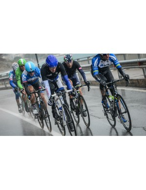 Trying conditions for Marc DeMaar and the breakaway of the 294km classic, Milan-San Remo, 2014