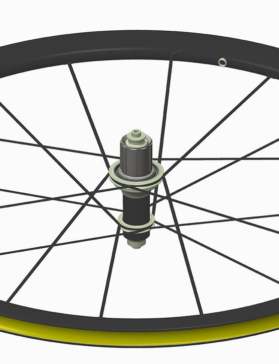 The rear hub features a 48-point inverted ratchet freehub design
