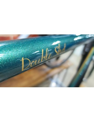 The glittery sea-green paint job really makes this cromoly frame look the business