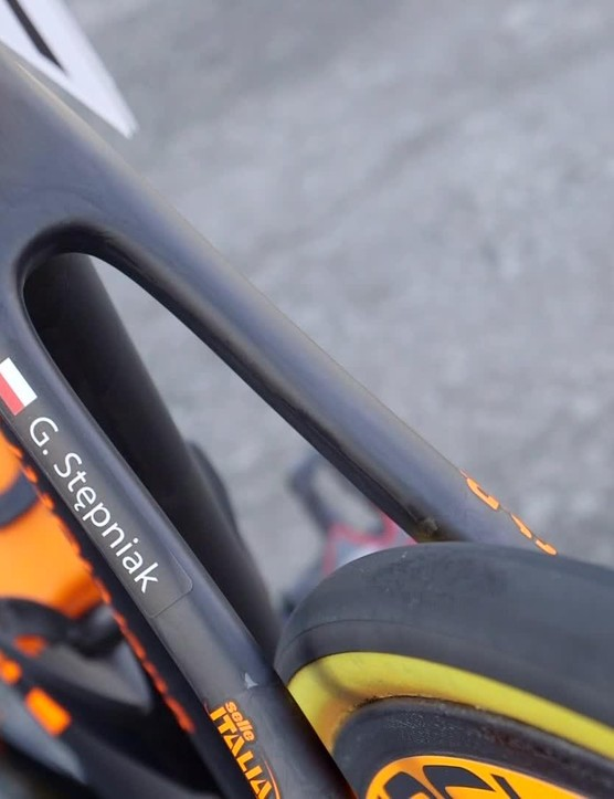 Skid marks on the Vittoria tyres show this bike has been raced hard