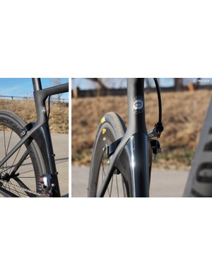 Instead of mounting the rear brake down by the bottom bracket, Canyon elected to stick with the more conventional location and direct air around the caliper