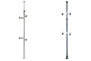 Ceiling-to-floor racks are a strong solution for rental properties. The Feedback Sports Velo Column (left) and Topeak Dual-Touch are both great options, with the Velo column being a little more stylish and the Topeak offering a firmer hold against the ceiling
