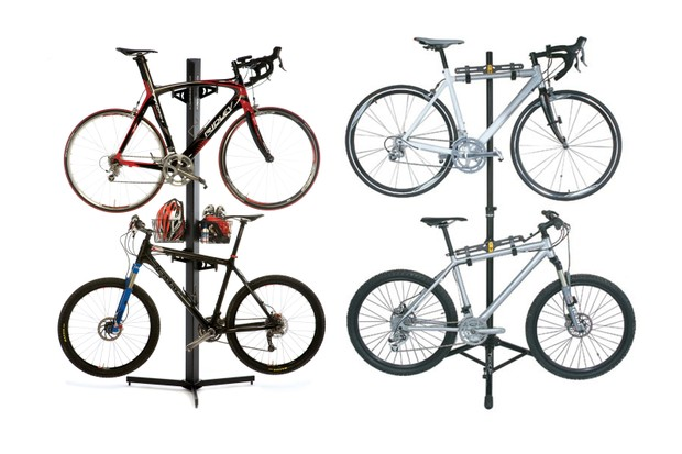Free standing bike stands come at a price, but the Feedback Sports Velo Cache (left) and Topeak TwoUp (right) are solid options
