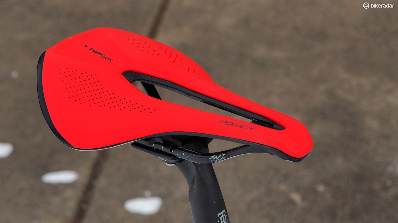The Specialized S-Works Power saddle looks unusual but it's actually very comfortable, particularly when riding in very aggressively low positions