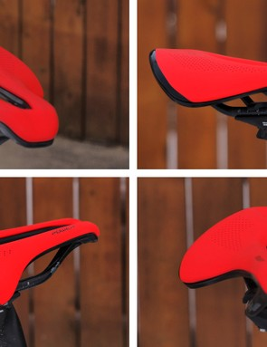 Specialized combined the traits of several saddles to create the Power, borrowing the wide and long cutout from its women-specific saddles, the short nose of the TT/Tri-targeted Sitero, and the relatively flattened rear profile of the Phenom mountain bike seat