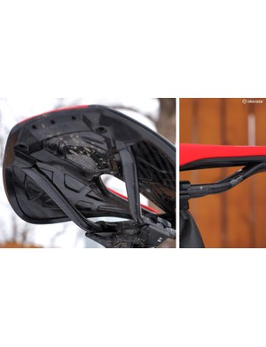 True carbon fiber construction for the shell and rails keeps the S-Works Power to just 160g. The webbed shape helps give the shell added stiffness and strength