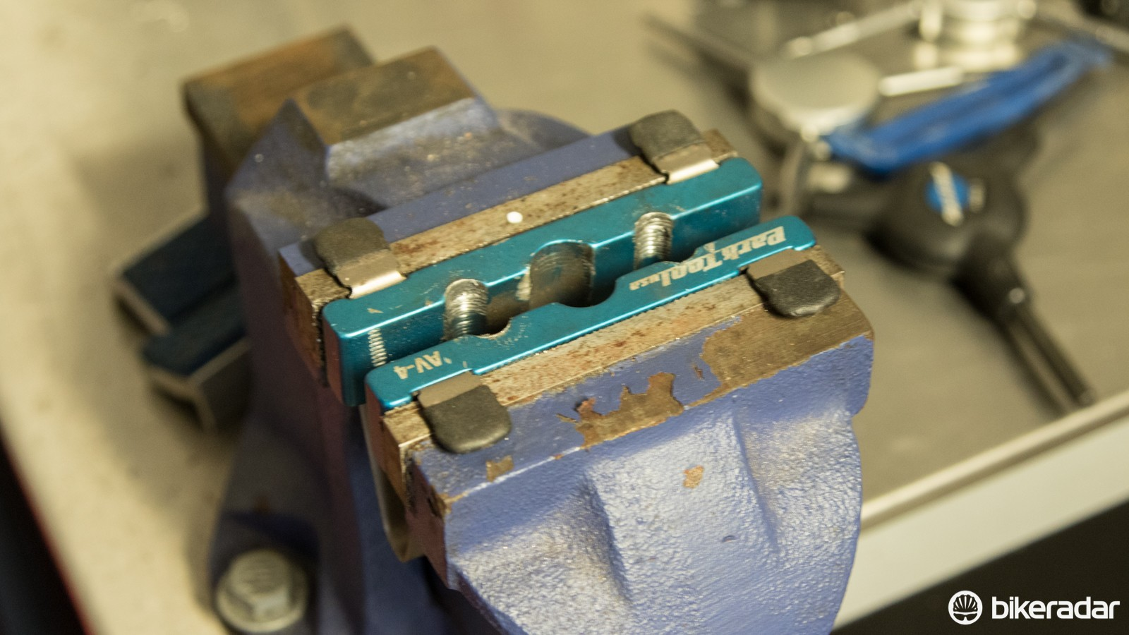 Axle soft-jaws make a workshop vice 'cycle specific'