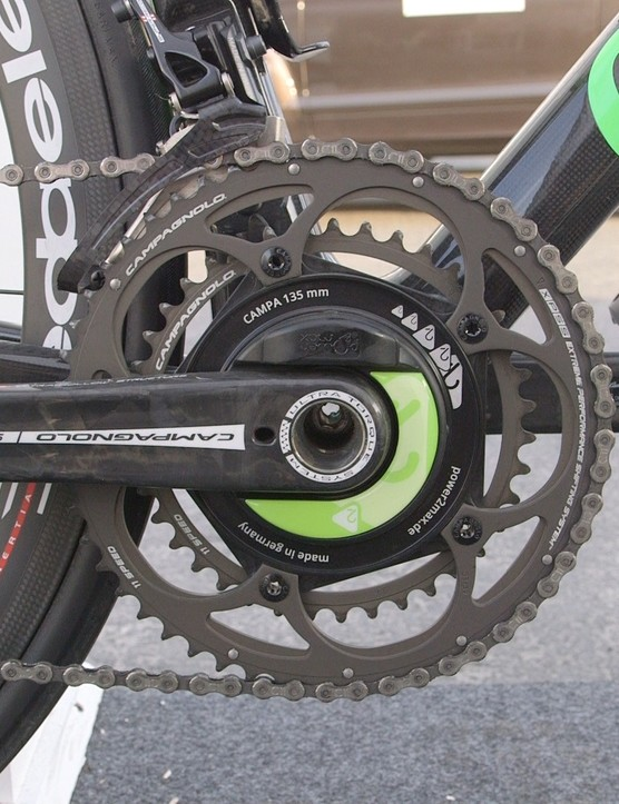 The mechanical Campagnolo Super Record groupset with a Power2Max power meter unit