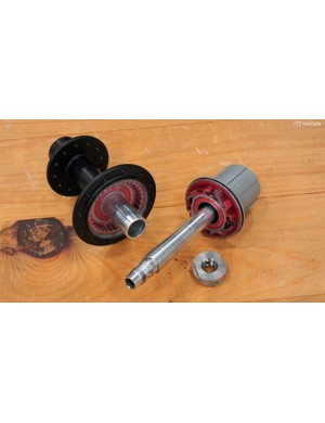 Boyd's 'Dual Axle Design' features a second oversize stub axle that threads into the hub shell. The freehub body rotates only around this axle, which means that only bearings are spinning when the rider is pedaling. Bearing drag is thus cut almost in half without having to resort to expensive ceramics
