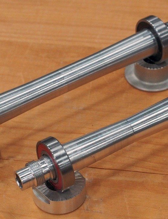 Boyd Cycling's new Eternity hub uses one-piece axles that span the full width of the fork and rear dropouts