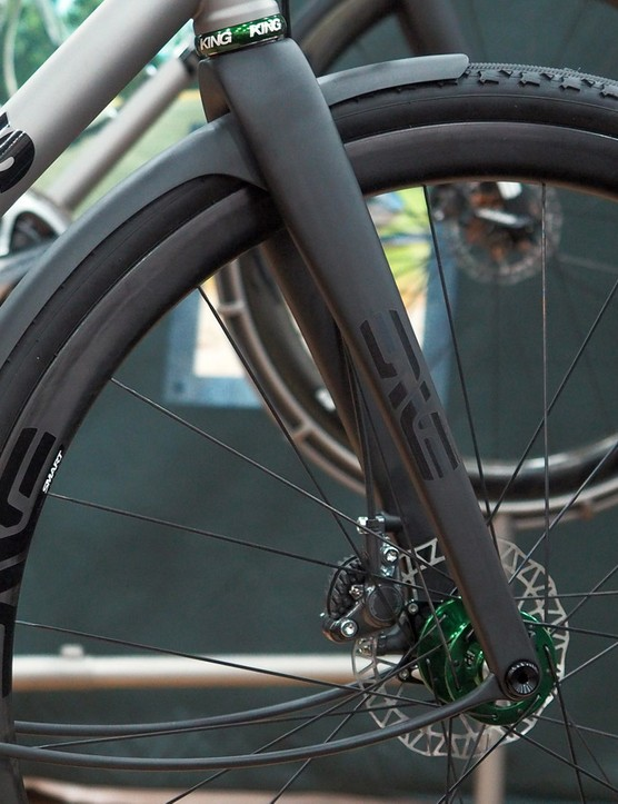 Enve previewed a gorgeous new carbon road disc fork for use with higher-volume tyres
