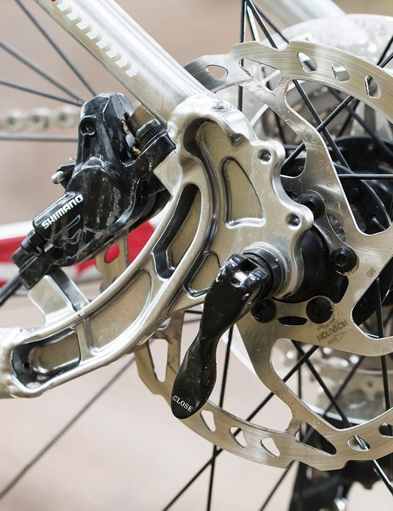 The rear brake mount is tucked inside the rear triangle – a neat touch