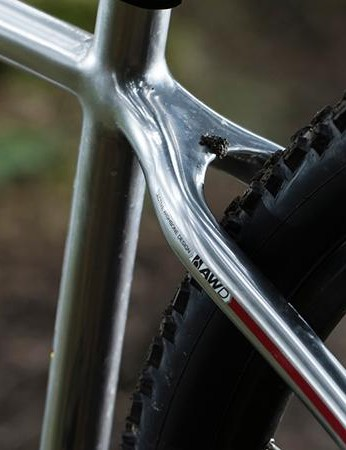 The 'wishbone' seatstays are actually standard stays joined with a plate at the top