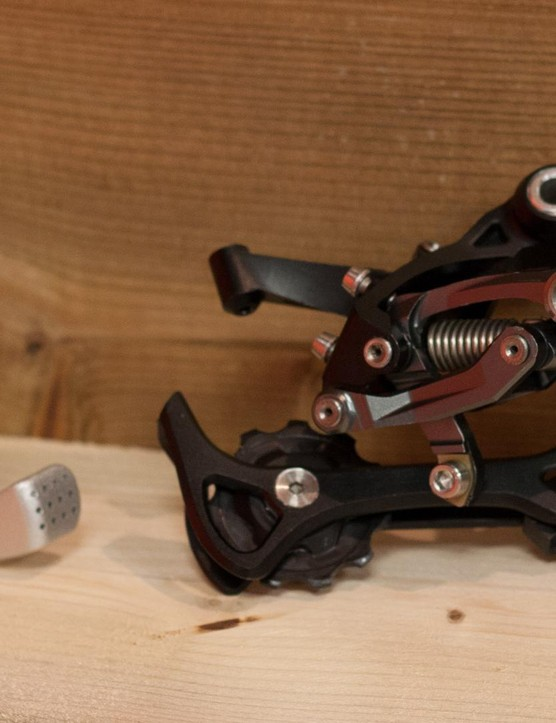 An early sample of BOX's forthcoming rear derailleur, apparently the production item will bear little resemblance to this