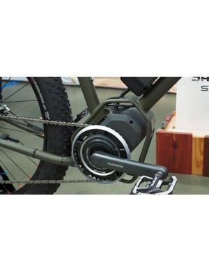 The Shimano STEPS motor is encased in this custom steel cage