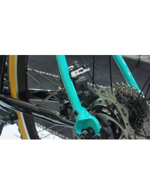 The rear brake mount is neatly integrated into the rear dropout